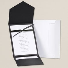 $39.95 kit of 25 - As classic as a perfectly tailored tuxedo, this black-and-white combination dresses your wedding invitation in sleek style. The black jacket protects the chic, simple white invitation, topped off with the perfect black bow tie. Accessory cards provide chic versatility for any part of your wedding correspondence.