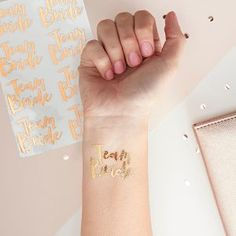 Team Bride Temporary Tattoos perfect for your Hen Party! A pack of all saying 'Team Bride' Perfect hen party accessory. Buy Team Bride online here. Party Tattoos, Wedding Tattoos, Bridesmaid Boxes, Bridesmaids, Tattoo Special, Classy Hen Do, Classy Hen Party Ideas, Ideas Party, Fete Marie