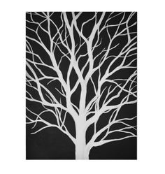 30 x 40 Original Acrylic Black and White Tree Painting by MegzArt, $150.00