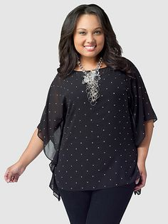 Batwing-Sleeve Studded Top