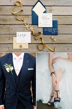 Sally Note: This is more or less our color palette. Groom in Navy, Bride in Navy and White,