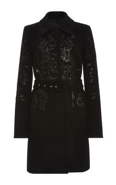 Flower Embroidered Felted Wool Blend Coat by ELIE SAAB for Preorder on Moda Operandi