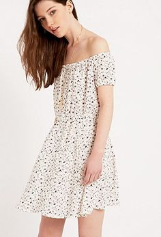 Pins & Needles Off-The-Shoulder Floral Dress in White