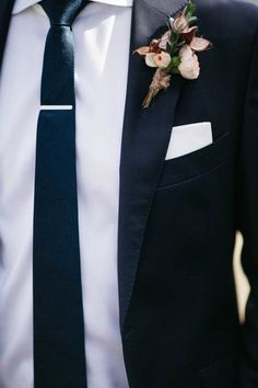 Navy suit, white shirt, skinny tie   Dan Stewart Photography