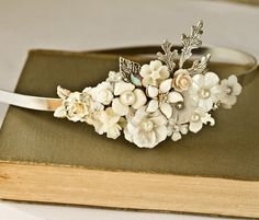 Bridal Headband - Bridal Hair Accessories, Vintage Headband, Shabby Chic Wedding Accessories, Silver Head piece Unique pearl, Something Old. $110.00, via Etsy.