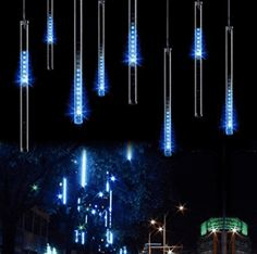 From Led Meteor Shower Rain Lights - Surlight Falling Rain Drop Christmas Lights Icicle Snow Fall Waterproof String Lights With 8 Tube 144 Leds For Holiday Xmas Tree New Year Halloween Wedding Party Decoration (blue) Outdoor Tree Decorations, Outdoor Garland, Garden Wedding Decorations, Holiday Decorations, Led Christmas Lights, Holiday Lights, Outdoor Christmas, Christmas Wedding, Christmas Holiday