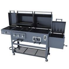 Large 4 in 1 Combo Natural Gas Charcaol Grill 3 Burner with BBQ Smoker Box Sear Charcoal Grill Smoker, Gas And Charcoal Grill, Offset Smoker, Bbq Smoker Box, Brick Bbq, Grill N Chill, Grill Accessories, Outdoor Cooking, Camping Cooking
