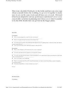 Coordinator Checklist