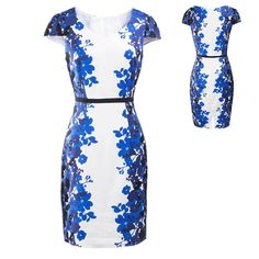 Women Floral Slim Wear To Work Bodycon Cocktail Evening Party Ball Pencil Dress