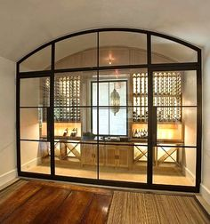 love the doors as dividers. would be great in basement too for a h… wine storage. love the doors as dividers. would be great in basement too for a home gym or music studio. home decor and interior decorating ideas. Cave A Vin Design, Home Wine Cellars, Wine Cellar Design, Wine Cellar Modern, Glass Wine Cellar, Wine Display, Wine Wall, The Doors, Metal Doors