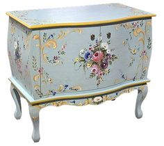 Bombe Cabinet  French Gray Blue with accents of Yellow Oxide and mixed florals.