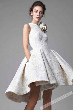 White lace high low prom dress, homecoming dress, fashion prom dress 2017