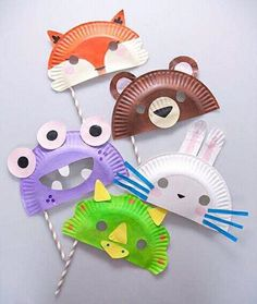 Paper Plate Masks Fun Crafts Kids Ideas Of Paper Plate Crafts for Of July - Craft Activities, Preschool Crafts, Straw Activities, Spanish Activities, Crafts To Do, Arts And Crafts, Projects For Kids, Craft Projects, Summer Art Projects