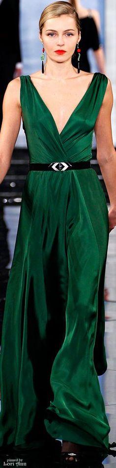 Ralph Lauren green v-neck dress women fashion outfit clothing style apparel @roressclothes closet ideas