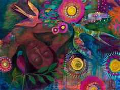 """""""Never allow your ego to diminish your ability to listen."""" ~ Gary Hopkins Artist: Shelly Penko Title: 'She Dreams In Color ' lis Flora Bowley, Illustrations, Teaching Art, Limited Edition Prints, Mixed Media Art, Fine Art Paper, Modern Art, Cool Art, Original Paintings"""