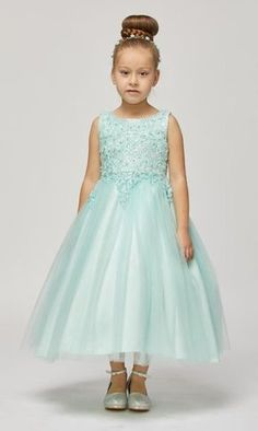Calla Collection Little Girls Green Floral Lace Flower Girl Dress 2T-6X