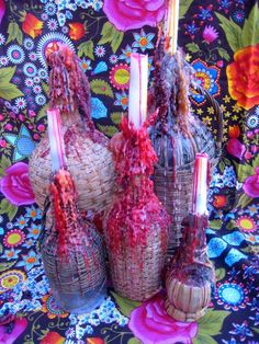 Candles...Mom and Dad use to make these on wicker covered wine bottles.