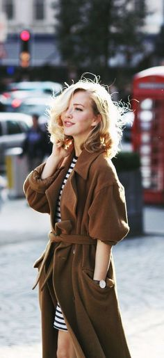 Coat and Strips Dress Fashion Street Style Combination Look.