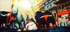 """von Mario Reinhold/ """"PAMPLONA 2015 (nach einem Foto von SUSANA VERA)/ Ölspachtel auf Leinwand"""