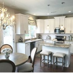 Beautiful Chandelier   Amazing Kitchen Design Filled With Hanging Lights  And More! #kitchen #