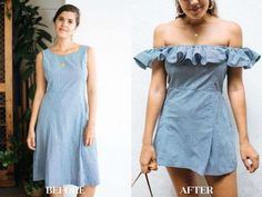 A Pair & A Spare | Before & After: Turn a Shift Dress into Ruffle Shoulder Dress