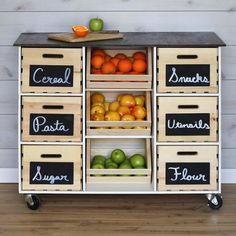 Built around nine food storage crates, this kitchen island cart is super-simple. Follow the instructions and illustrations below to build one yourself.