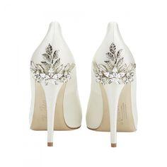 Harriet Wilde Marina Daisy Embellished Heel Peep Toe Wedding Shoes