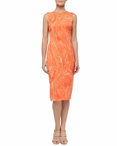 Marble Print Charmeuse Sheath Dress, Persimmon by Michael Kors at Neiman Marcus.