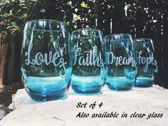 Stemless Wine Glass, Etched Glass, Anchor Wine Glass, Set of 4, Inspirational, Love, Faith, Dream, Hope, Blue Glass, Glassware by…
