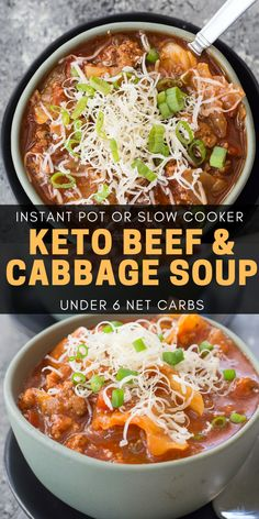 This Keto Cabbage and Beef Soup is a true low carb winter staple! At just under 6 net carbs with Instant Pot Slow Cooker and stove top instructions this is a keto soup perfect for any occasion! Slow Cooker Recipes, Beef Recipes, Soup Recipes, Beef Meals, Chowder Recipes, Potato Recipes, Yummy Recipes, Recipies, Yummy Food