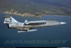 Lockheed TF-104G Starfighter turning low level over the Tyrrhenian sea during a training sortie from Grosseto airbase