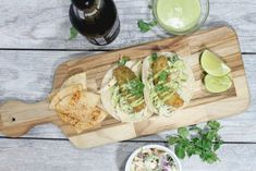 Fried Avocado Tacos with Jalapeno Slaw and Cilantro-Lime Crema - coleslaw Healthy Shrimp Tacos, Spicy Fish Tacos, Shrimp Taco Recipes, Slaw Recipes, Vegan Recipes, Avocado Fries, Fried Avocado, Cilantro Lime Sauce, Jalapeno Sauce