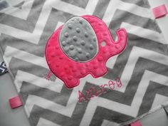 Personalized Baby Blanket, Elephant Baby, Minky Chevron Blanket, Minky Baby Blanket, Sensory Ribbons, Lovey Size, Custom Blanket on Etsy, $22.99