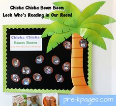 Chicka Chicka Boom Boom bulletin board  for classroom library via www.pre-kpages.com #preschool #kindergarten