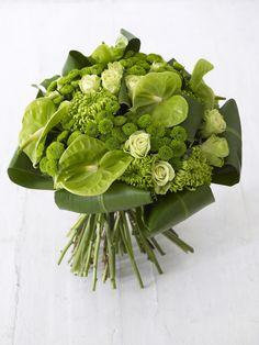 Green green green ! 6 shamrock chrysanthemums  15 single roses  7 green santini  5 green anthurium  8 green tie leaves