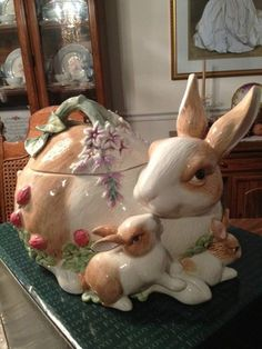 Retired Fitz and Floyd Botanical Bunny Cookie Jar