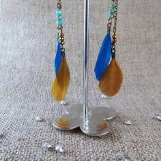 Boucle d'oreilles cailles dorées et bleues