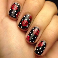 Nägeln 20 Rose Nail Art Designs Getting What You Want In Parenting Have you ever noticed that everyt Dot Nail Designs, Flower Nail Designs, Black Nail Designs, Rose Nail Design, Nails Design, Gorgeous Nails, Pretty Nails, Fun Nails, Rose Nail Art