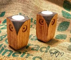 Owl tea light candle holder that has a rustic country look to it. handcrafted owl candle holder would be a great addition to any owl decor! Modern Candle Holders, Candle Stand, Tealight Candle Holders, Candleholders, Driftwood Lamp, Bois Diy, Easy Wood Projects, Tea Light Holder, Wood Crafts