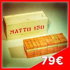 MATTO CASE 150 - Contents: 76 big Bricks, 24 medium Bricks, 32 small Bricks, 3 Joists n°9, 6 Joists n°7, 7 Joists n°6, 6 Joists n°4, 2 Joists n°3. Case in fir wood.