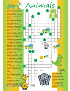 Crossword on Animal vocabulary.