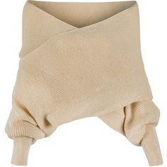 Beige Off Shoulder V-neck Wrap Detail Long Sleeve Knit Sweater (£24) ❤ liked on Polyvore featuring tops, sweaters, crop, v-neck sweater, off shoulder crop top, cropped knit sweater, cropped sweater and off the shoulder crop top