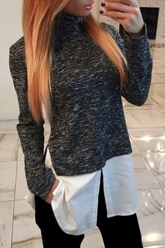 Stylish Womens's Long Sleeve Turtleneck Splicing T-Shirt