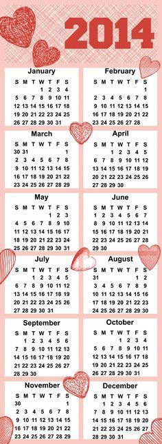 Free printable yearly calendar 2014