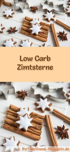 baking ~ low-carb Christmas cookies recipe for cinnamon stars: Low-carbohydrate, low-calorie Christmas biscuits - baked without cornmeal and sugar . Christmas Biscuits, Christmas Baking, Christmas Cookies, Low Carb Desserts, Healthy Dessert Recipes, Easy Cookie Recipes, Baking Recipes, Keto Recipes, Cookies Healthy