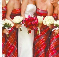 Tartan Bridesmaid dresses for a Christmas Wedding Tartan Wedding, Red Wedding, Wedding Ideas, Wedding Planning, Wedding Dresses, Wedding Inspiration, Wedding Wishes, Wedding Pictures, Wedding Bells