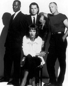 Samuel L. Jackson, John Travolta, Uma Thurman, and Bruce Willis on the set of 'Pulp Fiction, 1993.