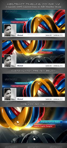 Abstract Timeline Cover V2 Abstract Facebook Timeline Covers This is a Collection of 2 Creative, Unique, Sexy & Stylish Facebook Timeline Cover Template. All of these are very useful for designers, developers & general users. Boost up your fans & sales by putting these attractive templates on your Facebook Profile's Timeline or Facebook Fan Page's Timeline. Feature:      2 PSD Files     2 Different Layout (Style)     100% Layered     Stylish, Cool & Sexy