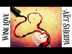 How to paint with Acrylic on Canvas Pouring Wine Heart - YouTube