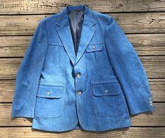 Vintage LEVI'S PANATELA SPORTSWEAR Denim Western Sport Coat Blazer Men's 42R #Levis #TwoButton